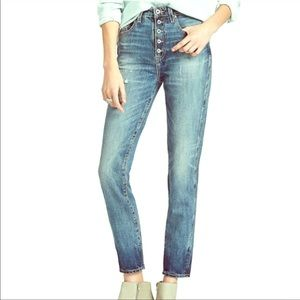 Exposed Button Fly Tomboy Jeans Straight Leg